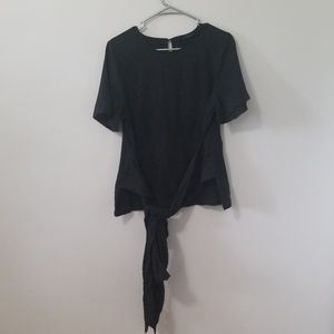 NWT Mossimo Size M Black Linen Top with Long Tie